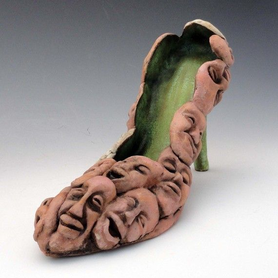 Shoes Ceramic Sculpture Souls of My Shoe  Made to by Mudgoddess. , via Etsy.