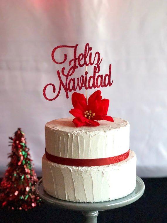 Feliz Navidad Cake Topper Merry Christmas Cake Topper Etsy Christmas Cake Topper Christmas Cake Cake Toppers