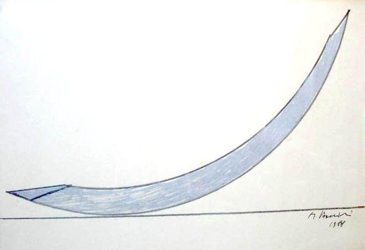 Mauro Staccioli , studio per la scultura (grande arco) presso il Parco Olimpico di Seoul 1988, cm. 42 x 56 , disegno a matita su carta.