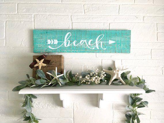 Beach House Coastal Wall Art Wood Sign Home Decor Beach Themed