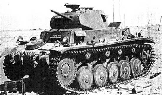 The Panzer II was a German light tank ordered into production as a stop-gap measure, as the Panzer III continued to have developmental problems. Originally built with only 15 mm of armor, it was later upgraded to 30 mm of armor. It was armed with both a machine gun and an automatic 20 mm canon, decidedly inferior to the standard 37 mm and 2 pounder tank guns used in most other countries in the early years of World War II. It was used used in Poland, France, the Low Countries, Denmark, etc.