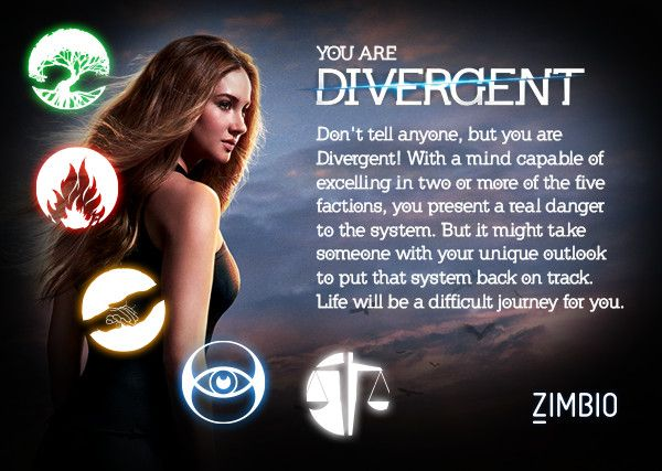 I took Zimbio and AMC Theatre's 'Divergent' quiz, and I'm Divergent! No surprises there as I'm likely Abnegation/Dauntless/Erudite/Amity. Which faction are you?