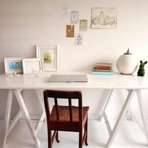 Milky White trestle table desk dining table by PlankandTrestle