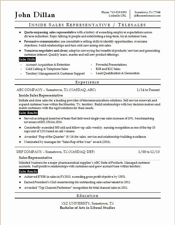 Inside Sales Cover Letter Fresh Inside Sales Rep Resume Sample Sales Resume Sales Resume Examples Resume Objective Examples