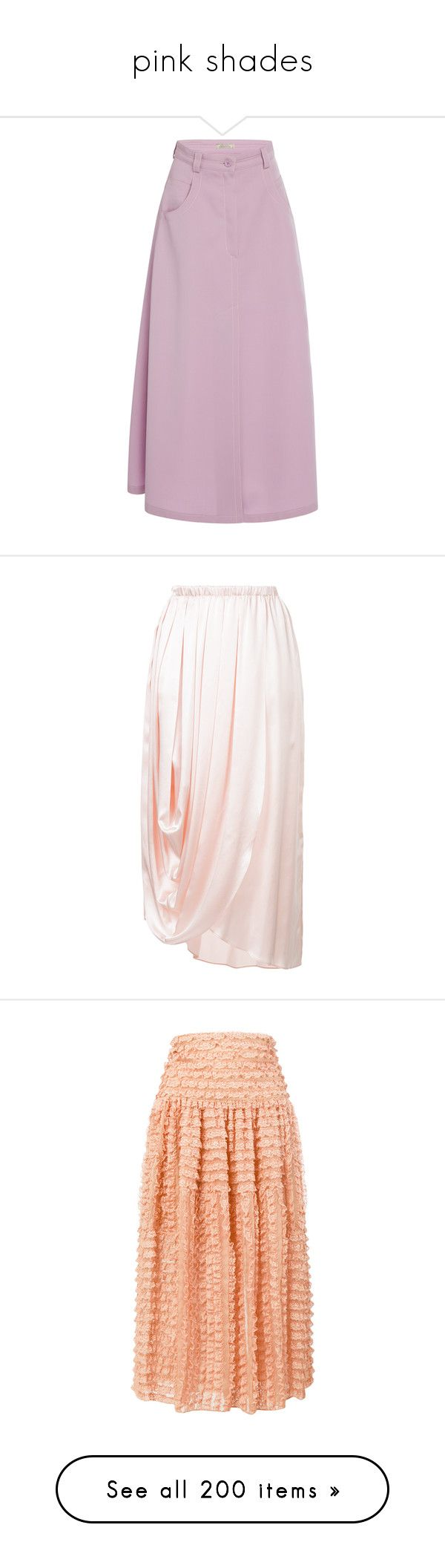 """""""pink shades"""" by jeniferkcarsrud ❤ liked on Polyvore featuring skirts, purple, purple high waisted skirt, purple skirt, wool skirt, mid length skirts, pink high waisted skirt, pink, light pink midi skirt and pink skirt"""