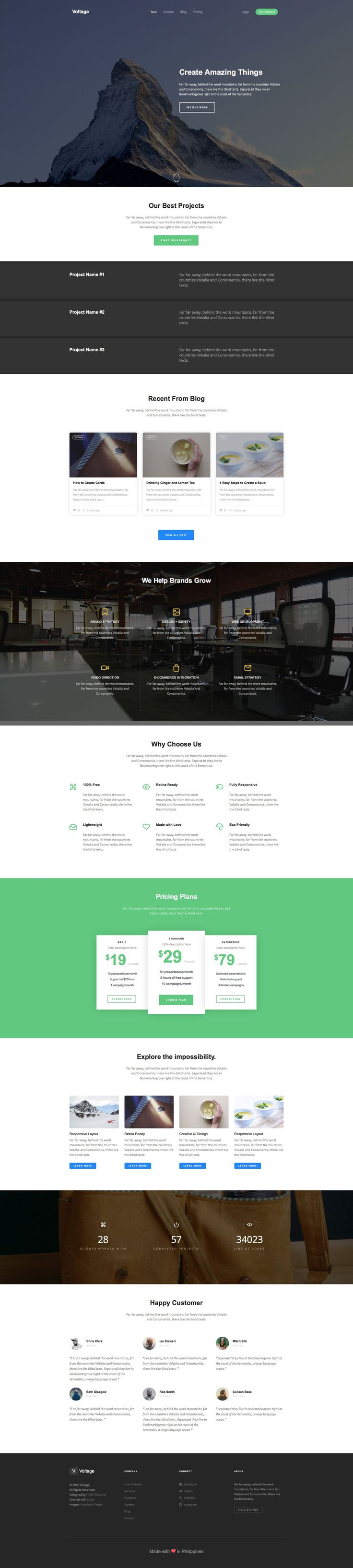 Voltage is a free responsive HTML5 template using Bootstrap. Ideal for portfolio or studio websites. Voltage comes packed with many extra features like smooth parallax, jQuery counter, retina ready icon fonts, off-canvas menu on mobile and many more.