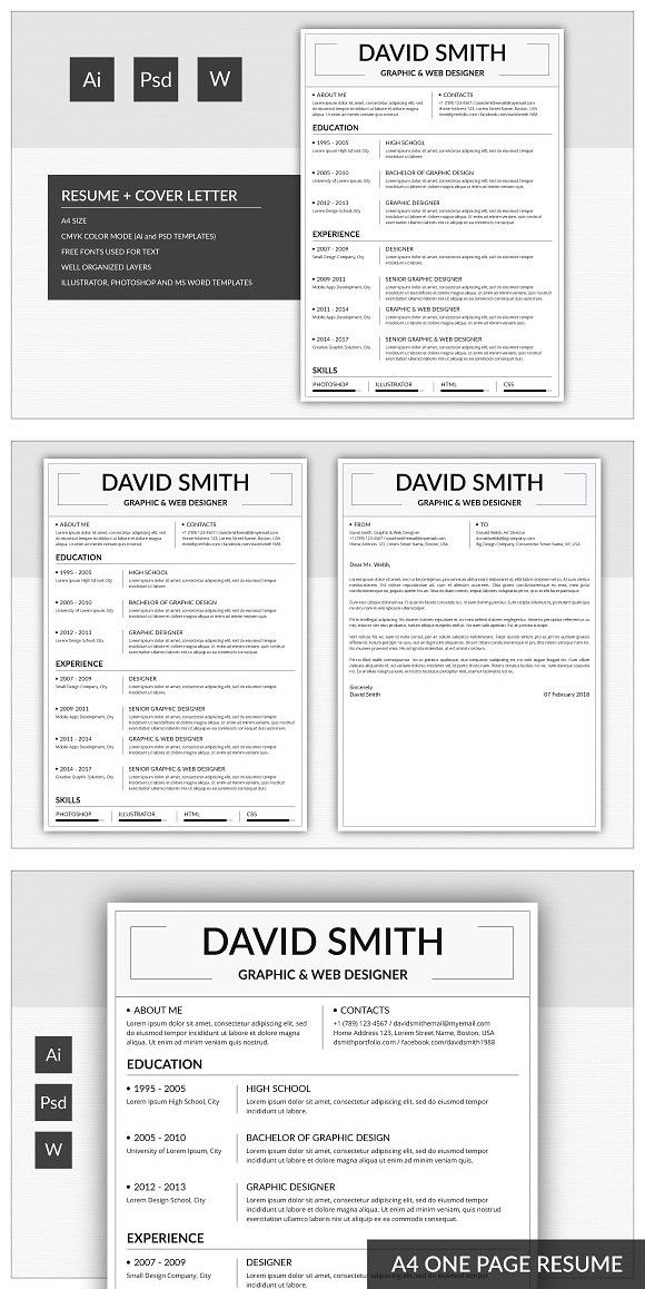 A4 Resume Template Resume Template One Page Resume Resume