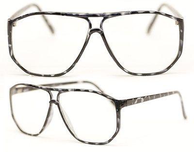 Square Nerd Brille Streber Übergroß schwarz transparent leo Klarglas 80er 254 in Kleidung & Accessoires, Herren-Accessoires, Sonnenbrillen & Brillen | eBay