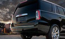 Trunk and rear bumper on the 2015 Yukon Denali full size luxury SUV.