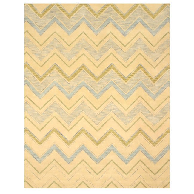 Eorc Hand-tufted Wool Ivory Pastel Chevron Rug
