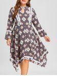 Plus Size Floral Rhombus Handkerchief Dress