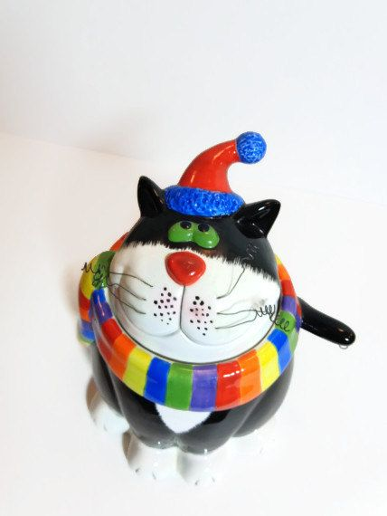 Vintage Fat Cat Cookie Jar Rainbow Colors Winter by PopPawsPlace, $24.50