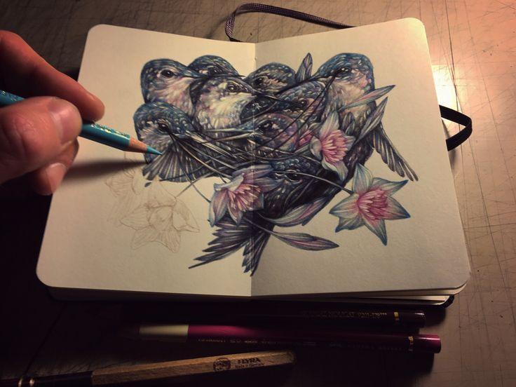 Un Vide Dans Un Catalyseur — marcomazzoni:   Hummingbirds on moleskine