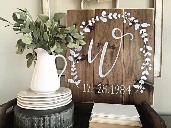 Rustic Home Decor Initial with Wedding Date Wood Wedding