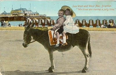 "Per precious pinner ""Postcard of donkey on Brighton beach - this pic was taken even before my grandparents were born! There were no donkeys during my childhood - we had to make do with the paddling pool and 'Punch & Judy'!"""