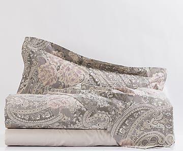 Completo letto singolo cotone percalle Versailles - marrone
