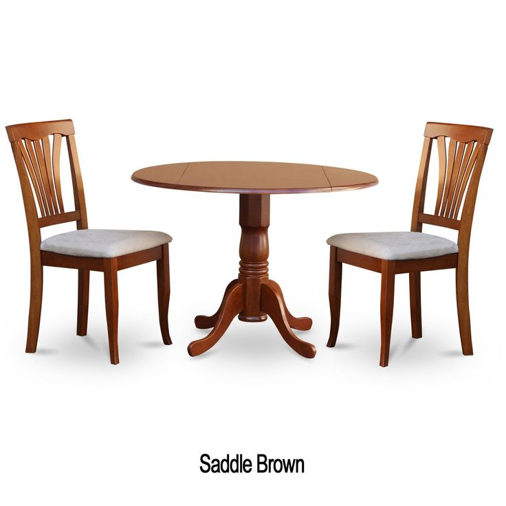 Saddle Brown Round Kitchen Table And 2 Dinette Chairs 3 Piece Dining Set  (Microfiber