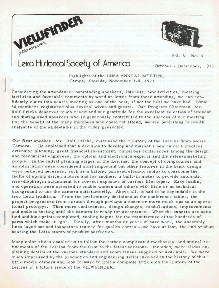 Viewfinder magazine 4 1973 LHSA annual meeting Leica M-4 camera