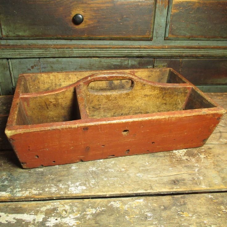 Granny's Early Old Antique Canted Wooden Primitive Tote - Old Red Paint, Square Nails #HannahsHouseAntiques #Primitives http://www.rubylane.com/item/497177-9368/Grannyx27s-Early-Antique-Canted-Wooden-Primitive