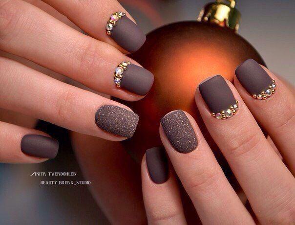 Brown nails, Brown shellac, Coffee nails, Evening nails, Matte nails