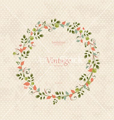 Invitation Card With Vintage Floral Wreath For Your Design