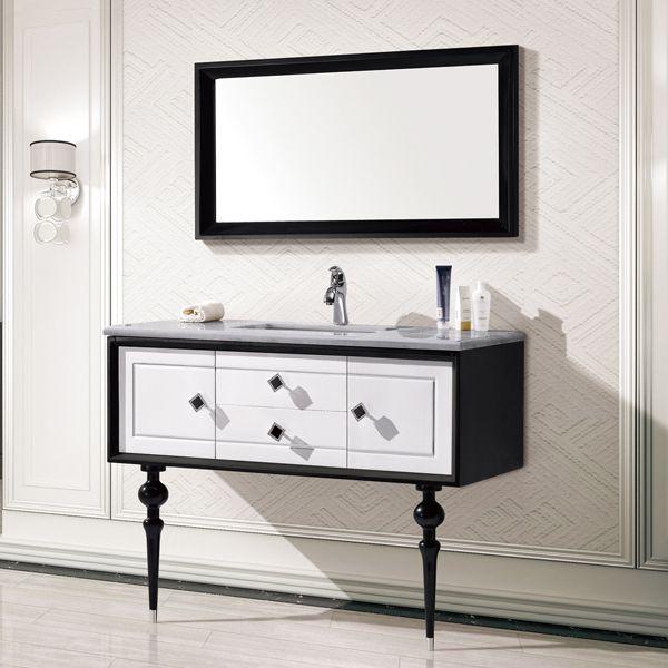 Гора белая и черный дуб шкаф и зеркало, прямой зерна белый мрамор, одно отверстие и одной бассейна сует