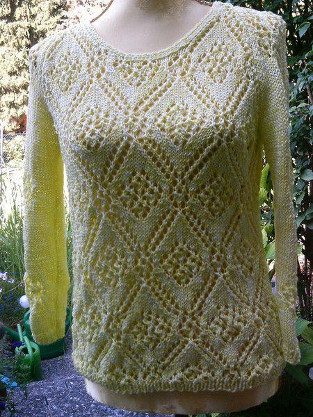 Gelber Ajour-Pullover, Gr. 36-38 von Meine Strickerei auf DaWanda.com