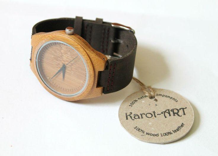 LIMITOWANY!!! Ekozegarek z drewna i skóry UNIKAT w Karot-ART na DaWanda.com