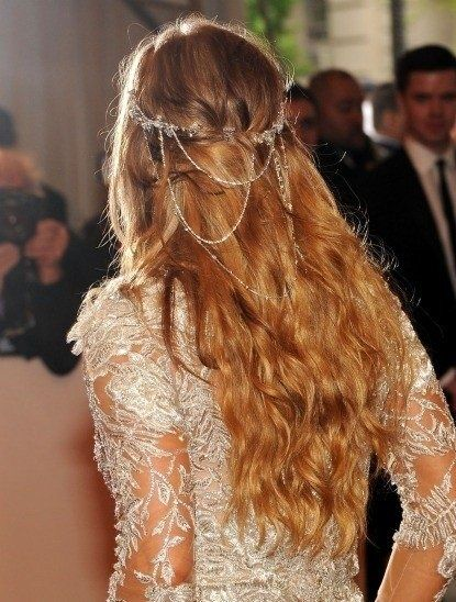 boho wedding chain cascading on back of hair..love this for one of our brides in the caribbean