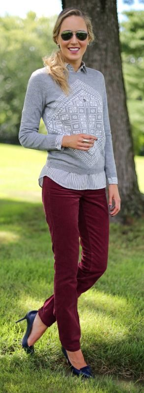 http://www.theclassycubicle.com/2014/09/crimson-cords.html  |  burgundy red corduroy straight or skinny leg pants, grey and white graphic sweater, grey and white striped button front shirt, navy pumps