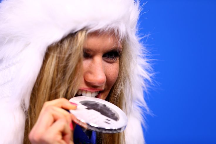 Silver medalist Gabriela Soukalova of the Czech Republic on the podium in Sochi olynmpics 2014. :)