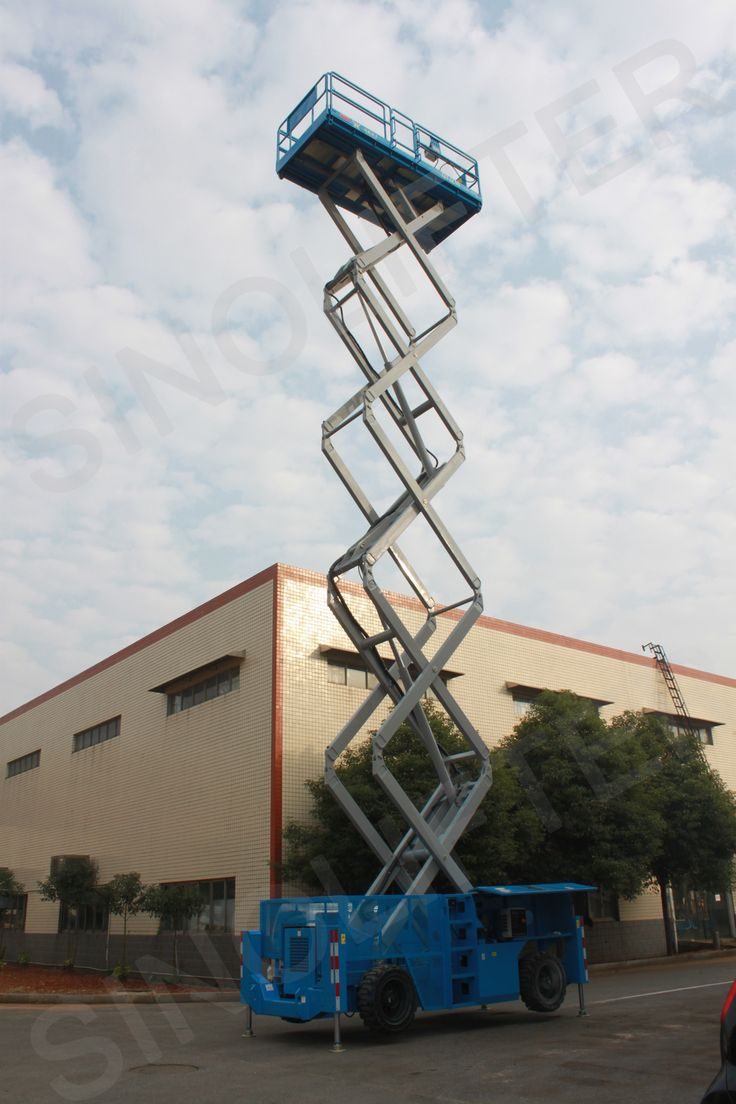 The diesel self propelled scissors lift is driven by four-wheel, with strong climbing capacity. Is 13m is OK for you? Just free to tell us: mf@sinicmech.com. Or you can learn some info from here: http://sinolifter.com/self-propelled-scissor-lift/rough-terrain-scissor-lift-13m.html