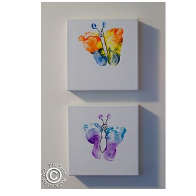 Butterfly footprints - I want to do this!! Maybe use their favourite colours?