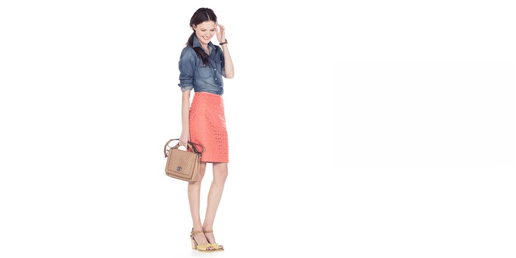 Pair your favorite denim shirt with an eye-popping coral skirt—everyday chic doesn't get any easier. @fossil.com/Canada