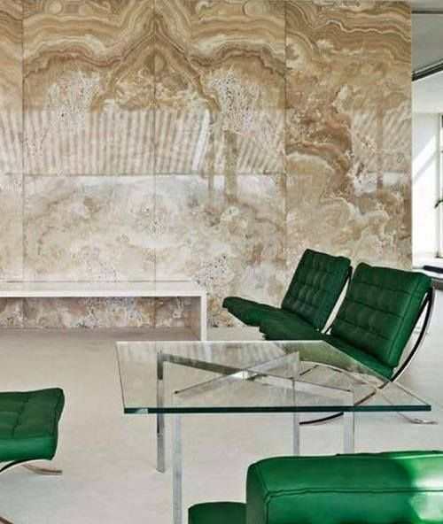 Marbled Wall + Emerald Green Barcelona Chair At Villa Tugendhat