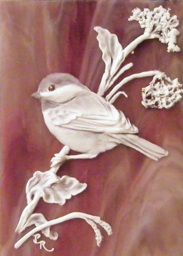 Chickadee Sculpted Cameo on Stained Glass ACEO