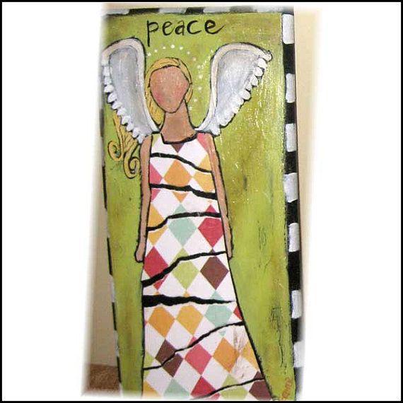Harlequin Angel :Original Acrylic on Wood от SweetCarolineOrig