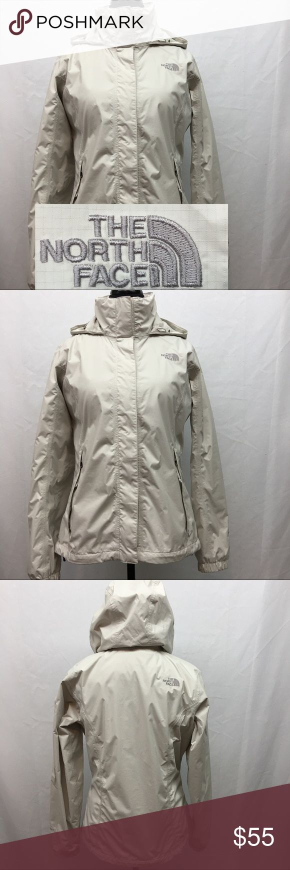 """The North Face Jacket Women's The North Face hyvent jacket. Oatmeal color. Has been worn many times but is overall great condition. No stains or tears. A little bit of fuzz in the Velcro. Size M/M. Armpit to armpit 21"""". Shoulder to bottom hem 24"""". Price is Firm unless bundled. The North Face Jackets & Coats"""