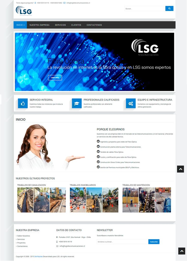 Desarrollo web corporativa www.lsgtelecomunicaciones.cl