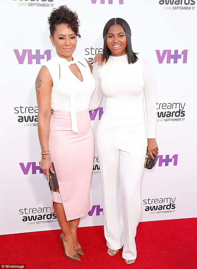 Learning from the best: Mel B and her daughter Phoenix, 16, were a colour co-ordinated dre...