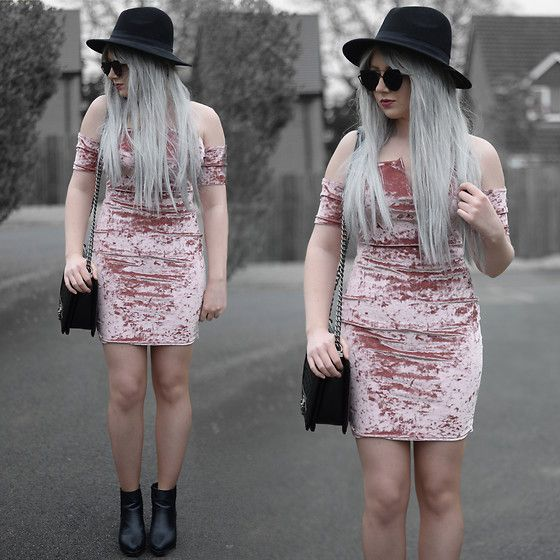 Get this look: http://lb.nu/look/8705009  More looks by Sammi Jackson: http://lb.nu/sammi_jackson  Items in this look:  Missguided Bardot Pink Velvet Dress, Zaful  Sunglasses, Oasap Quilted Bag, Topshop Alexy Boots   #chic #grunge #minimal #black #allblack #primark #fedora #primania #missguided