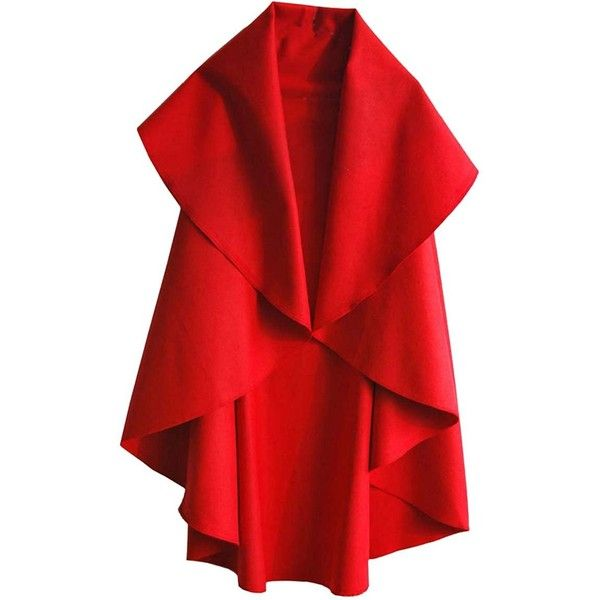 Amazon.com: Bestdress Women Solid Color Outwear Cape Spring Wrap-up... (€22) ❤ liked on Polyvore featuring outerwear, vests, red vest, red waistcoat, wrap cape, red cape and vest waistcoat