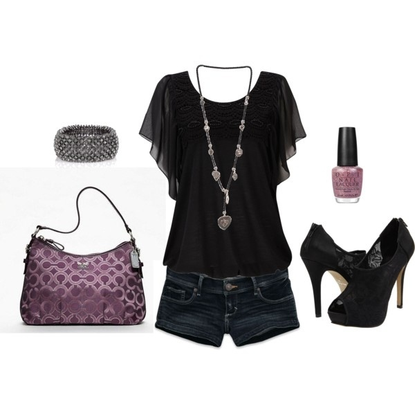 Love the color and the lace on the top: Shoes, Dreams Closet, Shirts, Cute Outfit, Heels, Summer Night, Jeans Shorts, Hot Outfit, Black