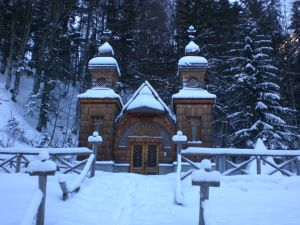 The Russian Chapel, located near bend 8 of the Vršič Pass, built in memory of the Russian prisoners of war who lost their lives due to an avalanche whilst building the pass.