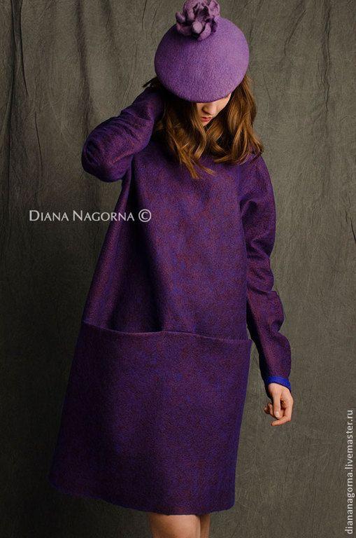 """Купить Платье из мериносовой шерсти """" Navy blue Vine"""" - темно-фиолетовый, однотонный, платье"""