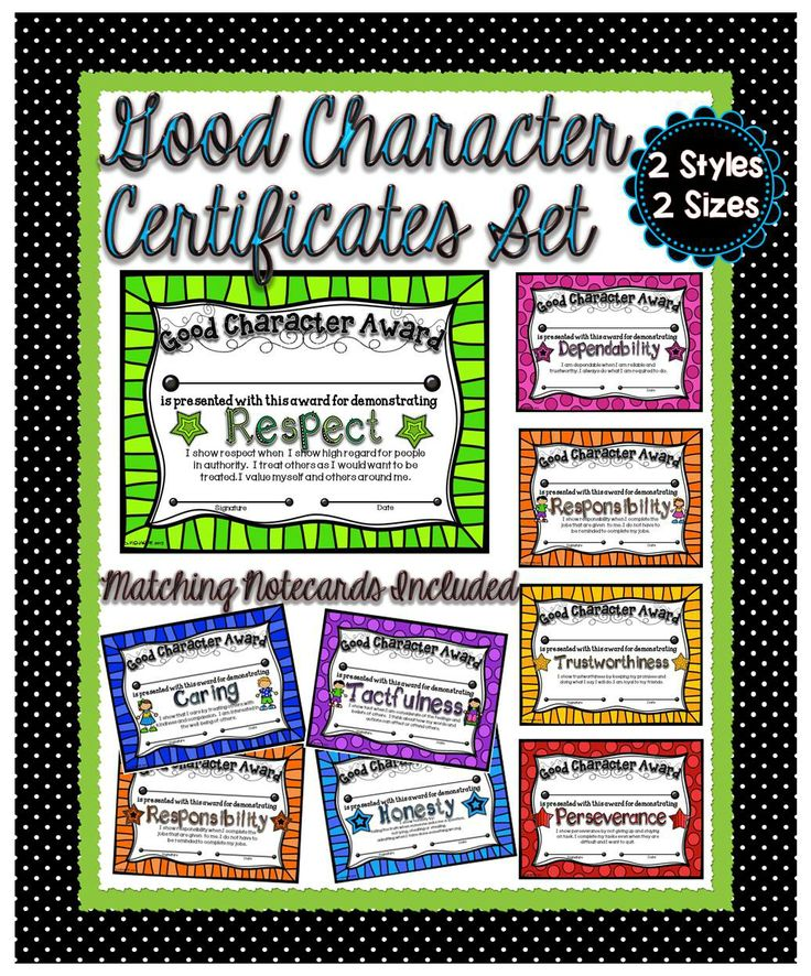 This is an excellent opportunity to positively recognize our students who portray good character traits. Included is a pack of 64 colorful certificates featuring 16 different character traits. #tpt#certificate#charactertrait#teacherspayteachers