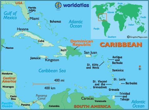 La ubicación en Océano Atlántico al norte y Mar Caribe al sur. También cerca de Haiti y San Juan.