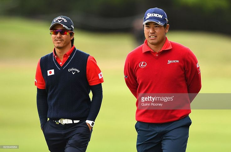 Ryo Ishikawa and Hideki Matsuyama of Japan walk down the fairway during day two of the World Cup of Golf at Kingston Heath Golf Club on November 25, 2016 in Melbourne, Australia.  (Photo by Quinn Rooney/Getty Images)