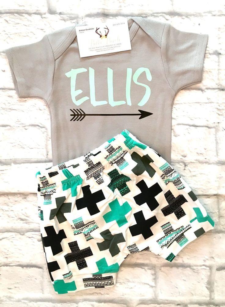 Baby Boy Clothes, Boys Monogramed Bodysuits, Boys Name Shirts, Boys Name Onesies, Boys Gray and Mint Green Bodysuits, Boys Baby Shower Gifts - BellaPiccoli