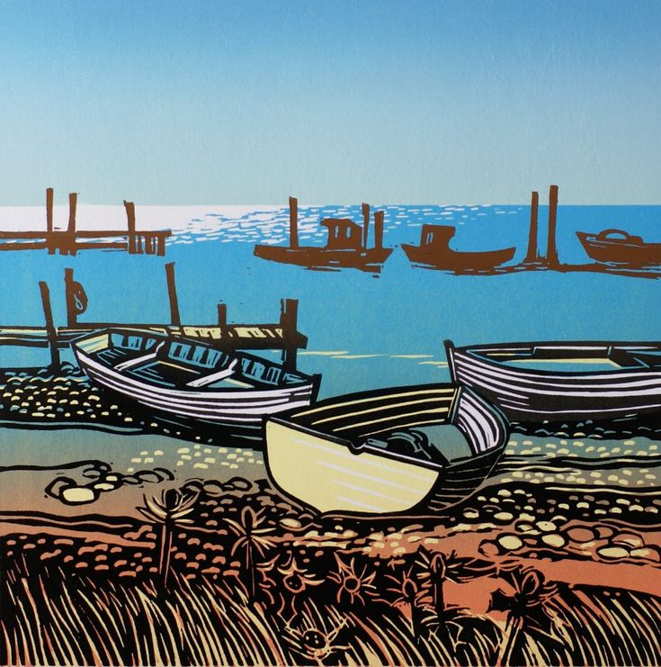 Beached Boats in the Sun Rob Barnes, Artist printer, Norfolk, linocut